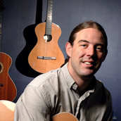 Andrew White of Morgantown, WV, designs and custom builds acoustic guitars.  Portrait Photogrpahy by Alex Wilson.