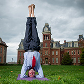 Bill Riley, Ph.D, Chair of the Department of Finance and Director of the Center for Chinese Business at the WVU College of Business & Economics.  Dr Riley, at age 69, does yoga nearly every morning. Portrait Photogrpahy by Alex Wilson.