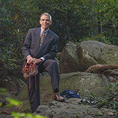 Richard Riley, Ph.D.,Professor of Public Accounting at the WVU College of Business & Economics, is an avid, competitive trail runner and was photographed at Coopers Rock State Park in Morgantown, WV.  Portrait Photogrpahy by Alex Wilson.