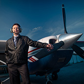 Ednilson Bernardes, Ph.D., Associate Professor in the WVU College of Business & Economics Supply Chain Management program.  Aside from being a college professor, Bernarde is a pilot and a member of the Civil Air Patrol at North Central West Virginia Airport in Bridgeport, WV.  Editorial Portrait Photogrpahy by Alex Wilson.