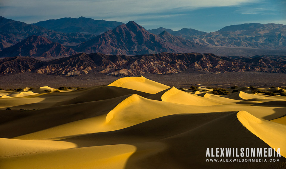 Mesquite Flat Sand Dunes in Death Valley National Park, California at sunrise.