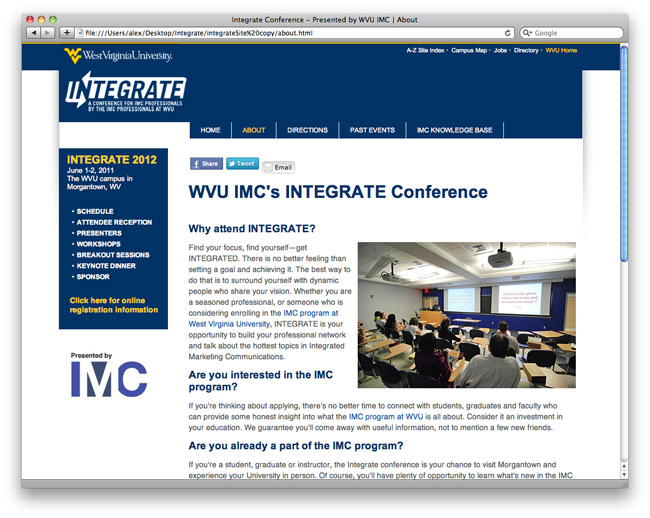 WVU IMC's Integrate Conference website